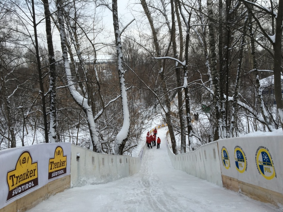 Rennstrecke beim Naturbahnrodel Weltcup in Moskau 2016