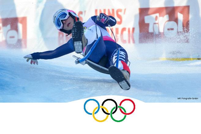 Olympische Spiele in Innsbruck und Tirol. Im Bild Greta Pinggera beim Weltcuprennen der Naturbahnrodler im Kühtai