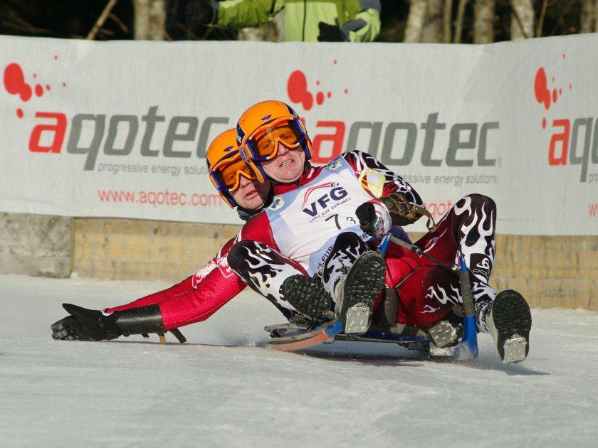 Die beiden polnischen Rennrodler auf Naturbahn bei der Europameisterschaft 2010