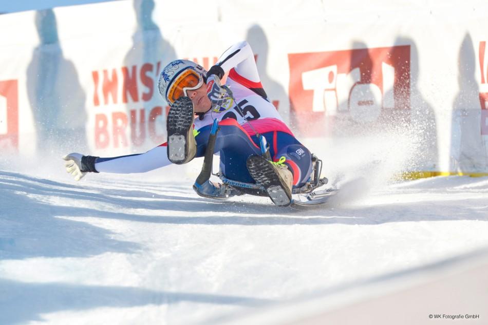 Ekaterina Lavrentjeva aus Russland beim Rodel Weltcup im Kühtai in Tirol.