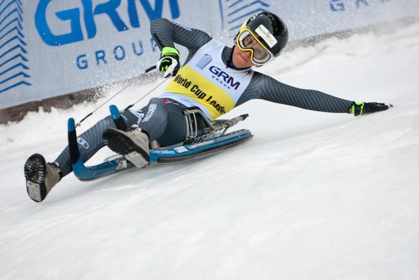 Evelin Lanthaler beim Rodel Weltcuprennen in Umhausen im Ötztal/Tirol