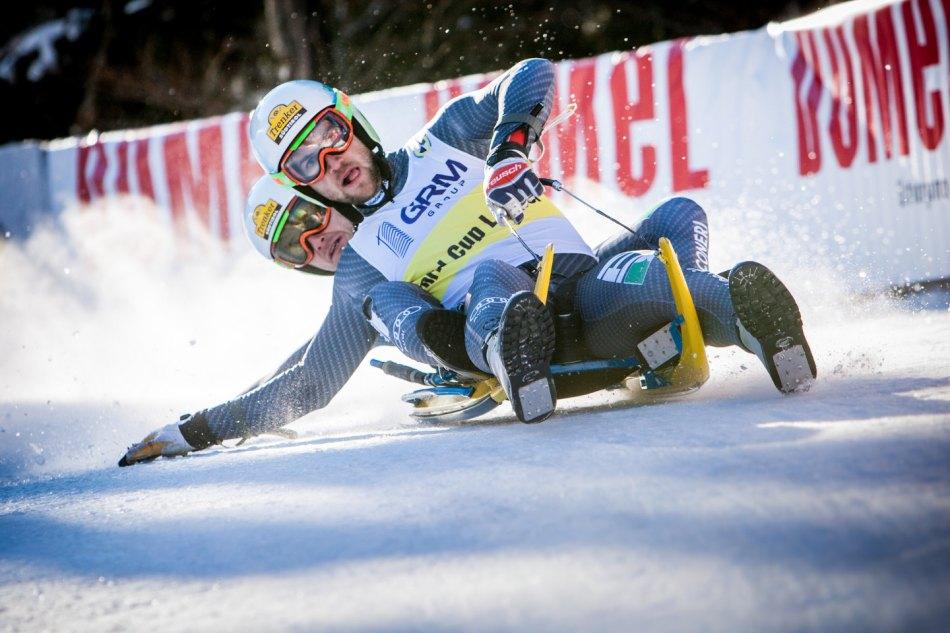 Die Rennrodel Stars Patrick Pigneter und Florian Clara beim Weltcuprennen 2017 in Zelezniki-Slowenien