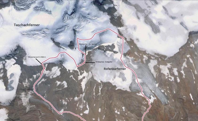 unsere Route auf die Wildspitze, Rodel Austria Naturbahn