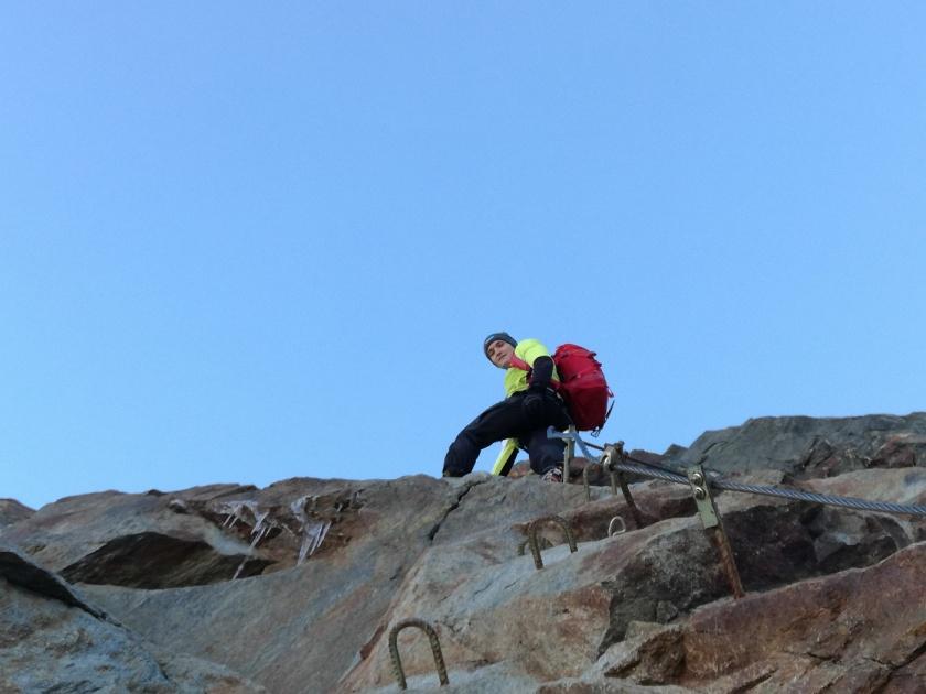 Thomas Kammerlander am Klettersteig zum Mitterkarjoch