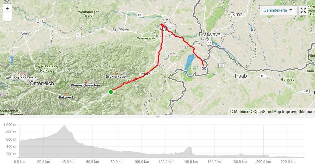 Unsere Radroute von Kindberg nach Wien zum Hermannskogel