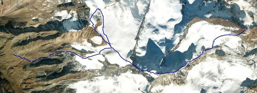 unsere Route auf das Allalinhorn und den Alphubel
