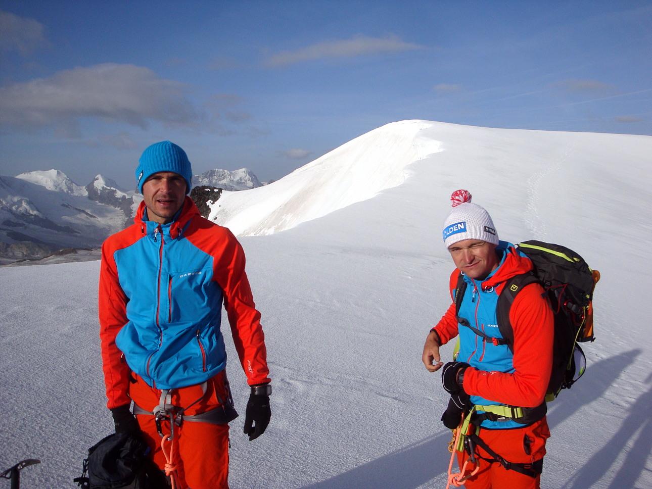 Gerald und Thomas Kammerlander am Rimpfischsattel.